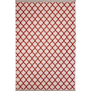 Oge Kırmızı Beyaz Desen 4m2 Kaymaz Halı